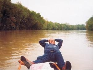 Dan paddling? down the one-way stream of the Wabash.