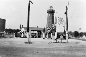 A LANDMARK OF EARLY WAYNEDALE - THE TOWER STATION-located at the northwest corner of Old Trail and Lower Huntington Roads (currently East of Chicago Pizza). Closeness to the road attracted oil companies such as this one in the 1920s and 1930s. The Tower Station was owned by Homer Crowl in 1930. The business contained a lunch room, juke box, and was a hangout for all the young kids.