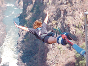 """""""I did another bungy jump in the afternoon. It was great-the highest bridge used for bungy jumps in the world. The bridge was 216 meters high and the bungy cord stretched about 170 meters."""" Victoria Falls, Zimbabwe, South Africa"""