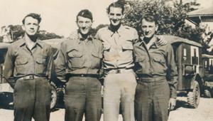 All cousins in France during WWII--June 1945. (L-R) Jennings J. Waldron, Roy Brandan, Henry Brandan, and Donald W. Waldron.