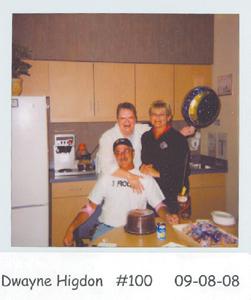 Milestone Platelet Donor Dwayne Higdon, Alice Stiffner (staff) and Shirley Higdon (wife).