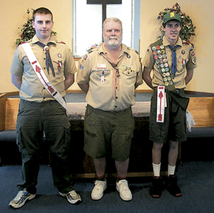 (L-R)  Raymond McCune III, former Scoutmaster Andy Dukarski, and Rory Lewis