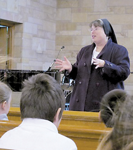 USF SISTER TALKS TO ST. JOSEPH-ST. ELIZABETH SCHOOL