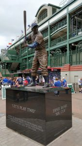 The legendary Ernie Banks Hall of Fame statue outside of Wrigley Field