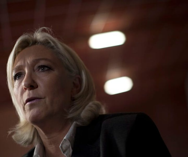 Marine Le Pen, the leader of the National Front, the largest far-right party in France, speaks to reporters at a political meeting in Perpignan, France, Feb. 15, 2014. Under Le Pen, the daughter of the party's founder, the National Front has moved from the fringe to the center of French politics by softening the party's xenophobic image. (Pierre Terdjman/The New York Times)