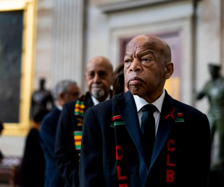 Rep. John Lewis, D-Ga., prepares to pay his respects to Rep. Elijah Cummings, D-Md., who lies in state during a memorial service at the U.S. Capitol Hill in Washington, Thursday, Oct. 24, 2019. The Maryland congressman and civil rights champion died Thursday, Oct. 17, at age 68 of complications from long-standing health issues. (Melina Mara/Pool via AP)