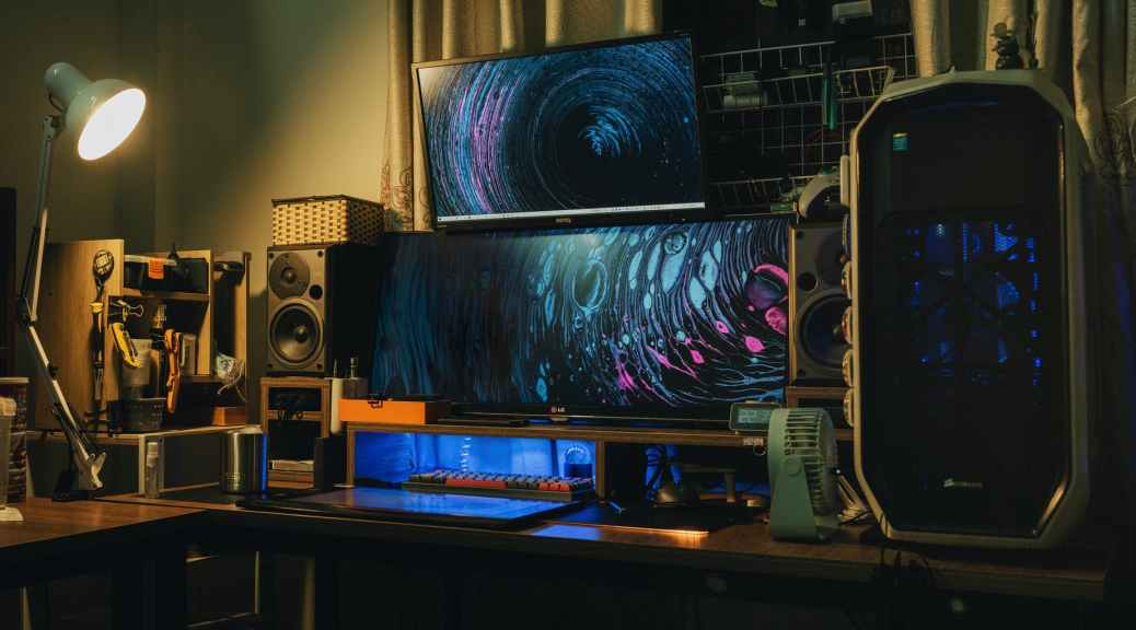 home studio with modern professional audio equipment and monitors