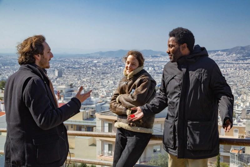 Behind the scenes Director Ferdinando Cito Filomarino Vicky Krieps and John David Washington scaled 1