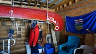 """One of 5 bicentennial canoes, this one named """"Osprey"""" undergoing restoration."""