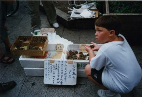 Sam with frogs