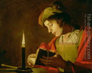 Young-Man-Reading-By-Candle-Light