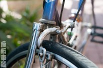 1990s Georgena Terry women's-specific bicycle. Front brake and fork crown detail.