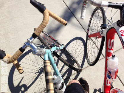 Getting ready to pick up the tandem and the stoker.