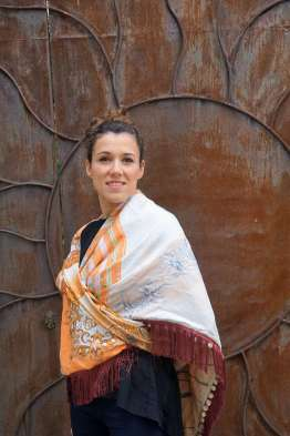 Wayome Upcycling foulard orange et crème cache coeur