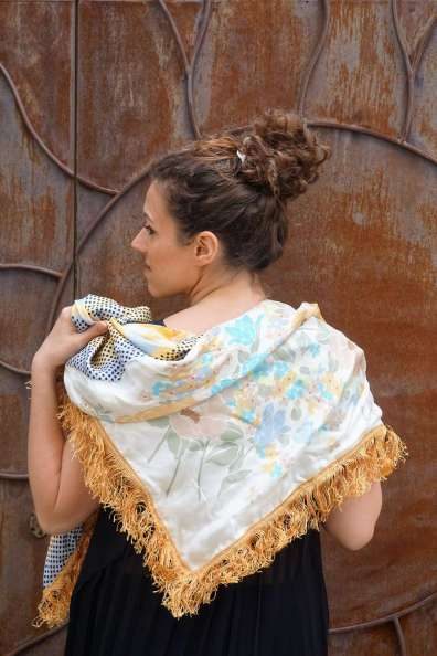 Wayome Upcycling foulard paille soleil dos cote face