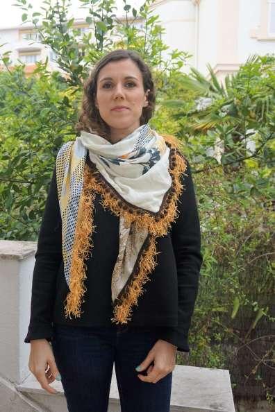 Wayome Upcycling foulard paille vert droit