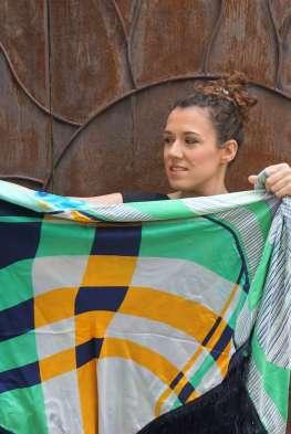 Wayome Upcycling foulard vert d'eau cote face zoom