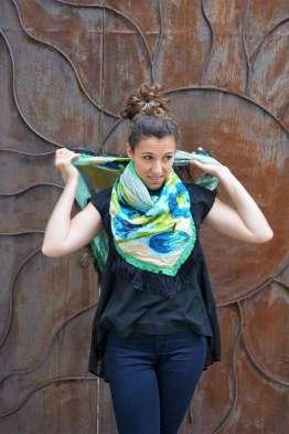 Wayome Upcycling foulard vert d'eau droit noeud cou