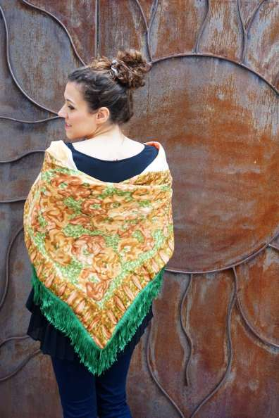 Wayome upcycling le foulard en soie vert jardin dos jaune