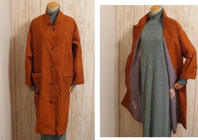結城紬の裏には長襦袢地使用の総裏コート、これからの季節に活躍します