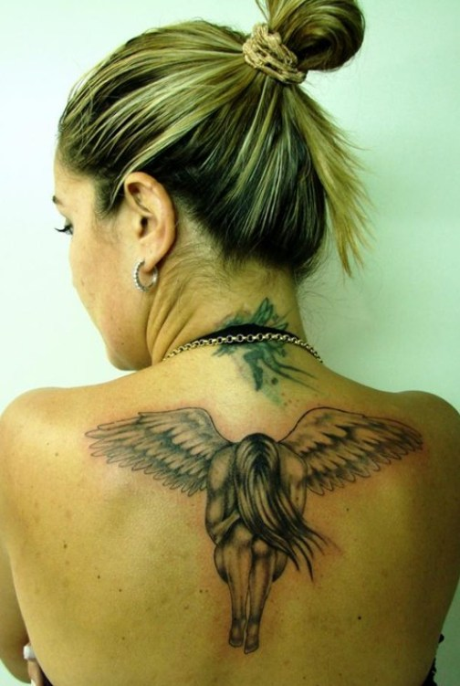 Angel-Tattoo-on-Back-of-Neck