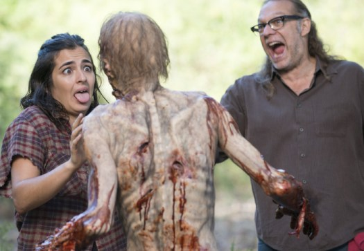 Alanna Masterson and Greg Nicotero - The Walking Dead _ Season 5, Episode 12 _ BTS - Photo Credit: Gene Page/AMC