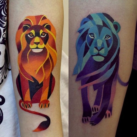 lion tattoo on leg colorful by sasha