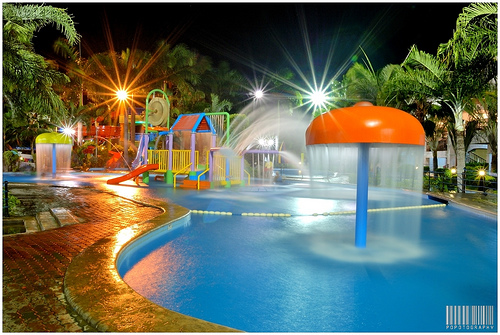Watercamp Resort Pool at Night
