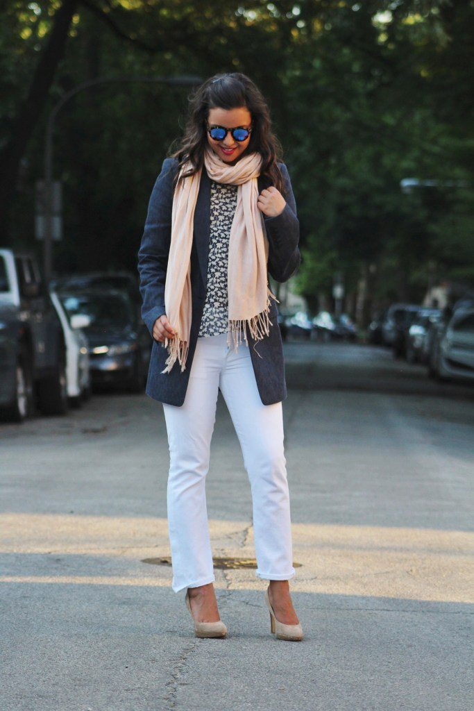 How to wear white denim for the office