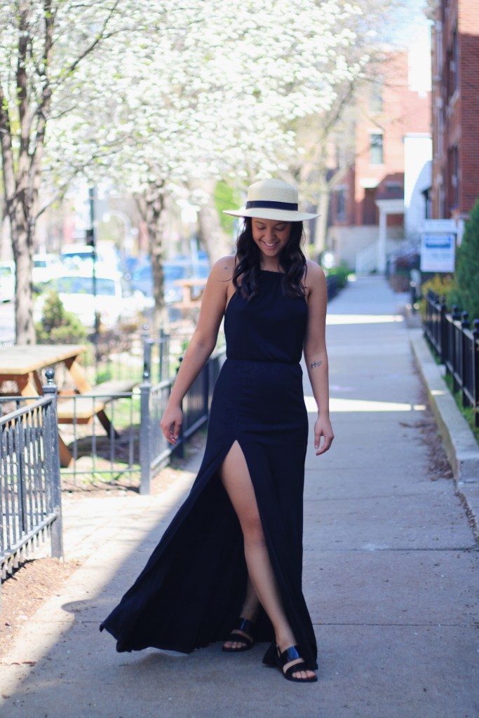 How to accessorize a black maxi dress dress for spring