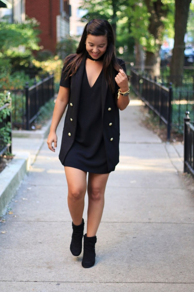 How to Style a Black Dress with layers for Fall