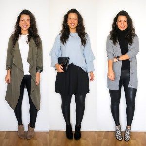 Cute thanksgiving outfit options with leather leggings