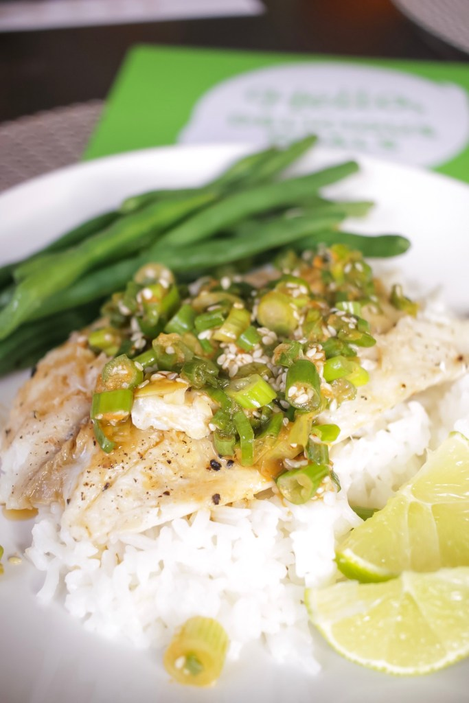 Hello Fresh review of tilapia with scallion sriracha pesto