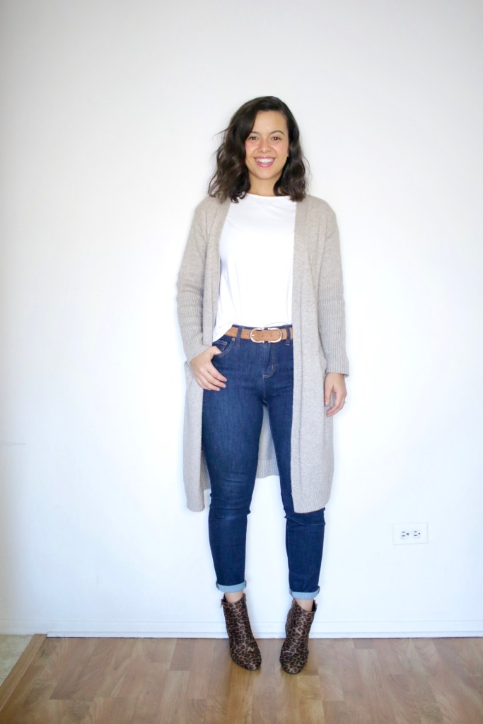 Long cardigan outfit with jeans