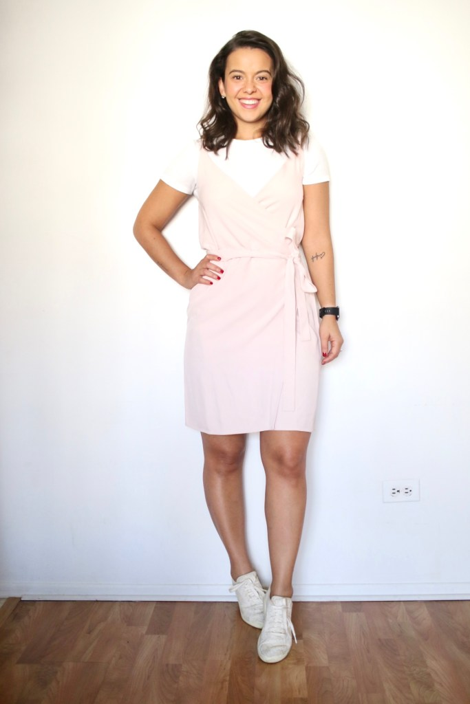 Look 1 - Styling a Spring dress with a white t-shirt underneath and white sneakers
