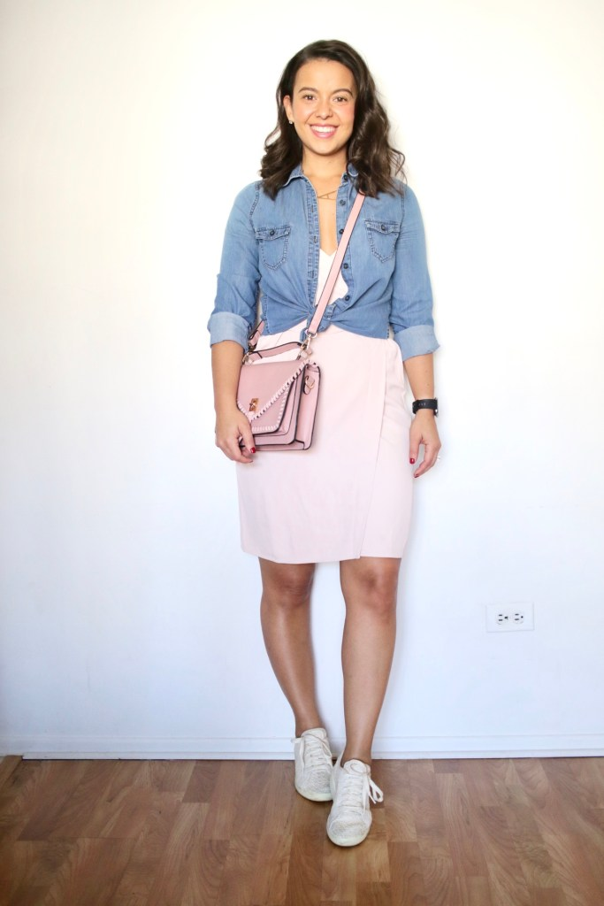 Look 6 - Outfit ideas for Spring with a chambray shirt and sneakers