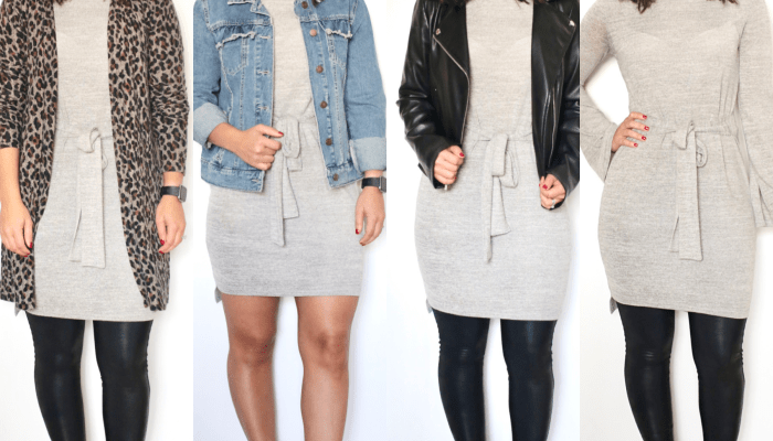 Styling a sweater dress for 4 different occasions