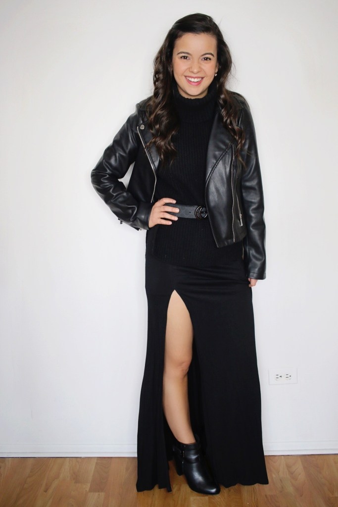 Styling a black maxi dress for Fall