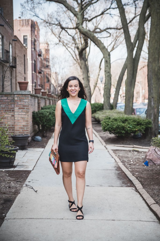 How to Style a Black Dress with a pop of color for spring