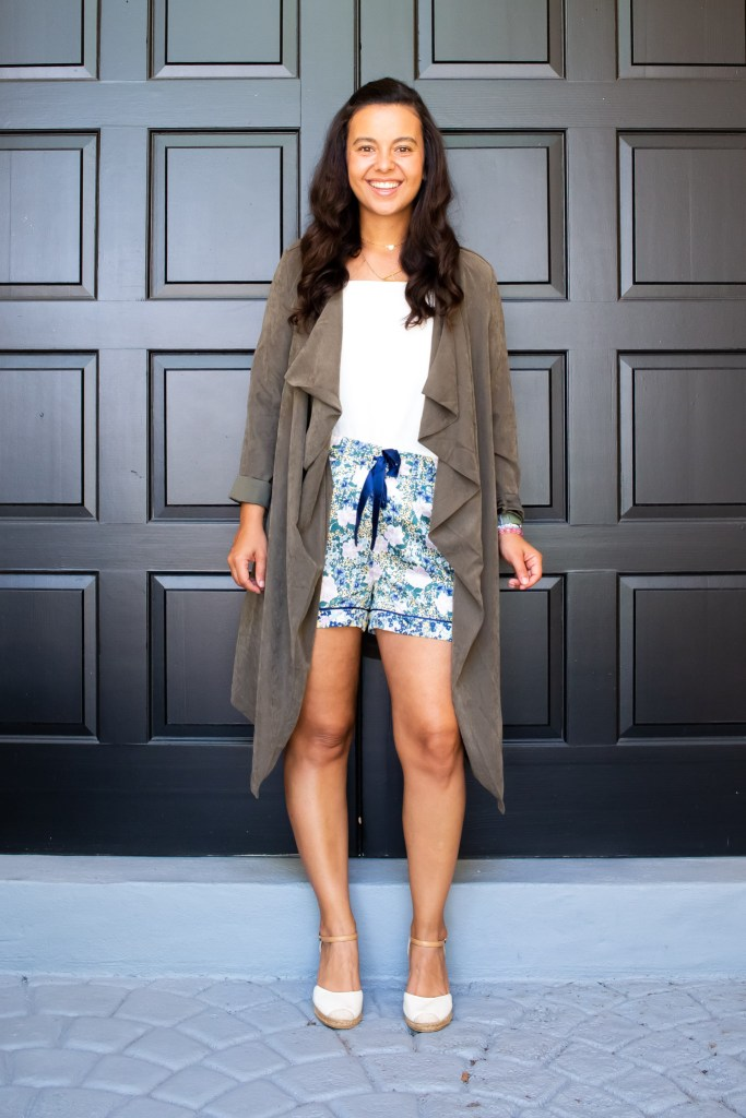 Styling these cute silk PJ shorts with espadrilles and a lightweight trench. Styling pajamas as daywear look 2