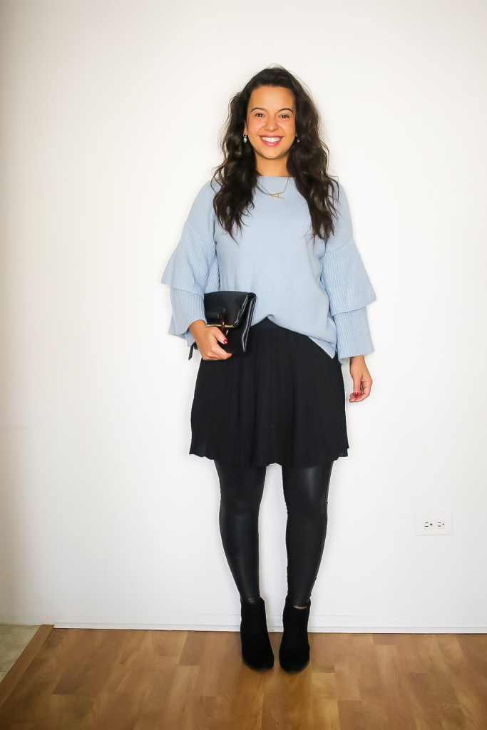 Cute Thanksgiving look option 2. Spanx leggings With a skirt and statement sweater