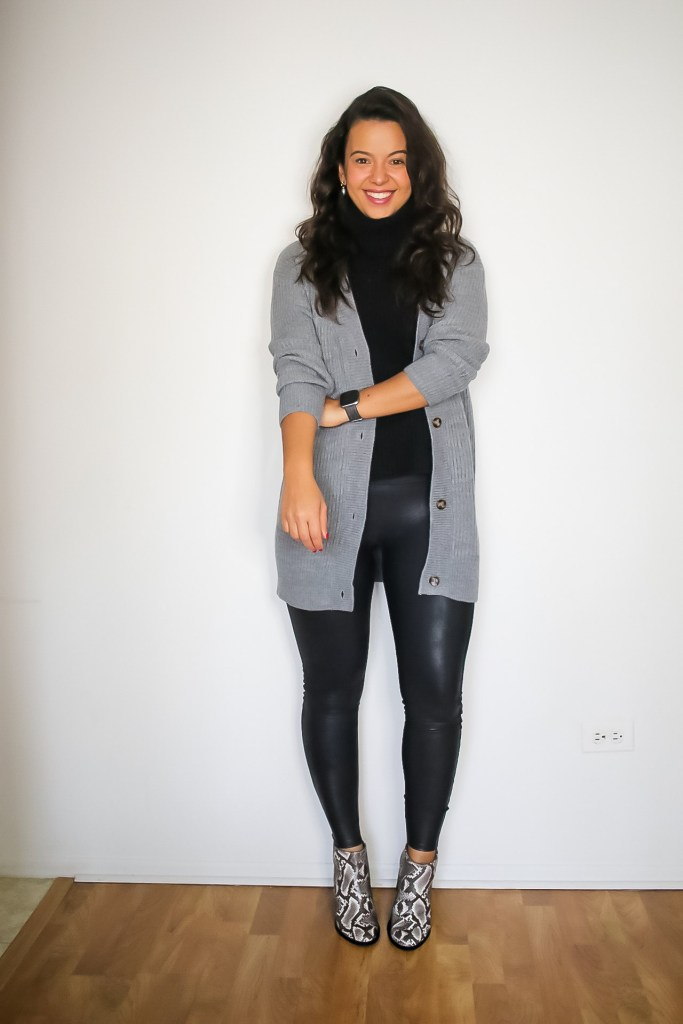 Styling Spanx leggings for Thanksgiving with long cardigan and booties