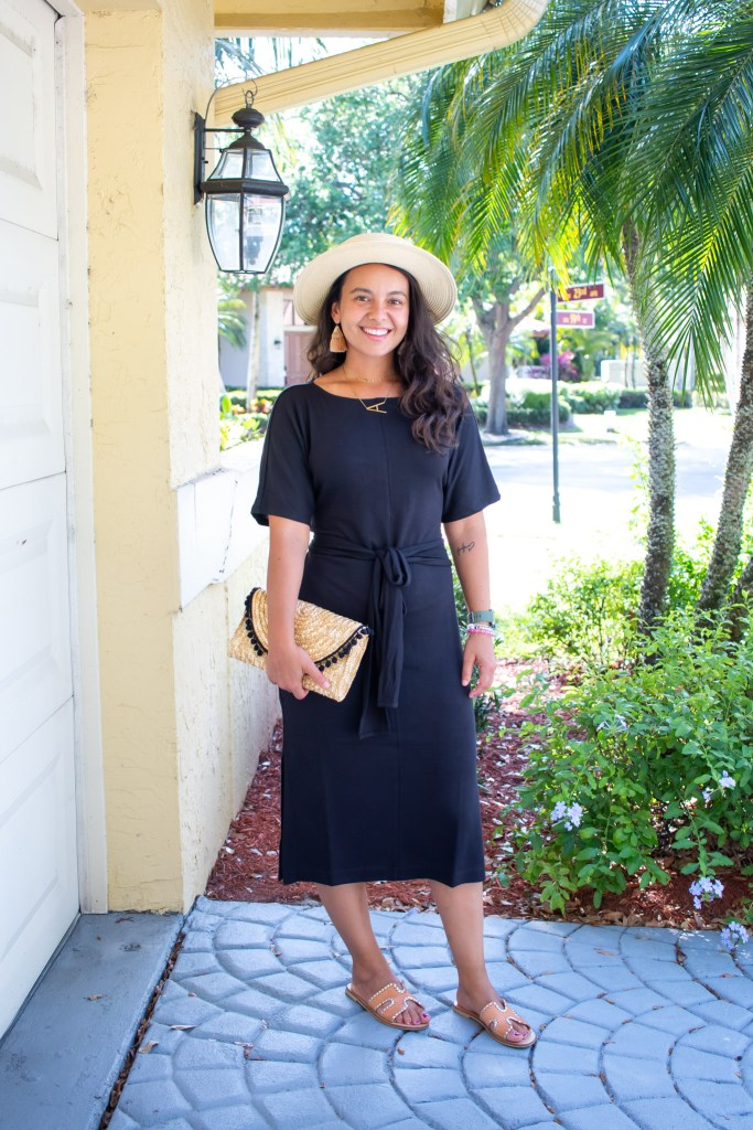 Styling a black midi dress in a casual way