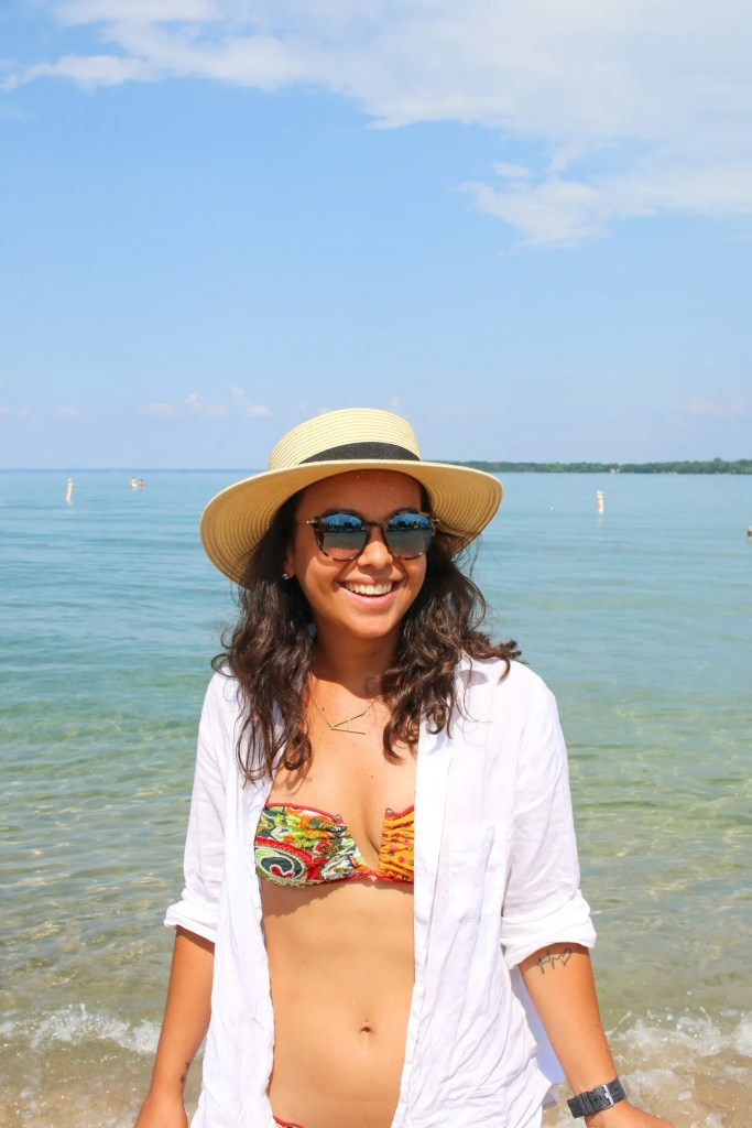 How to style a white shirt as a cover up for the beach
