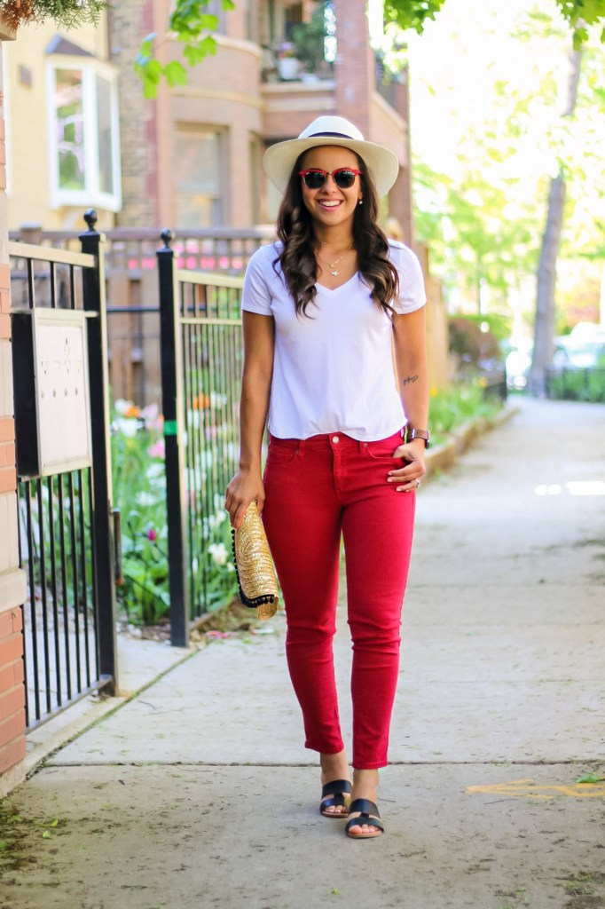 white tshirt with red denim summer outfit