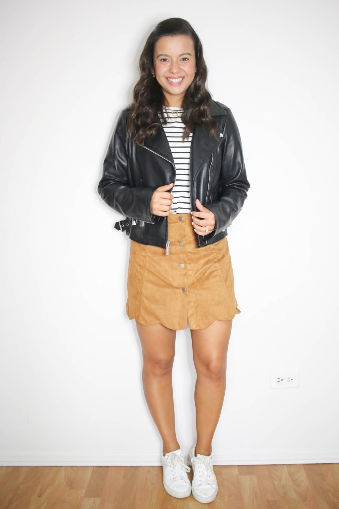 How to wear a leather jacket with a skirt