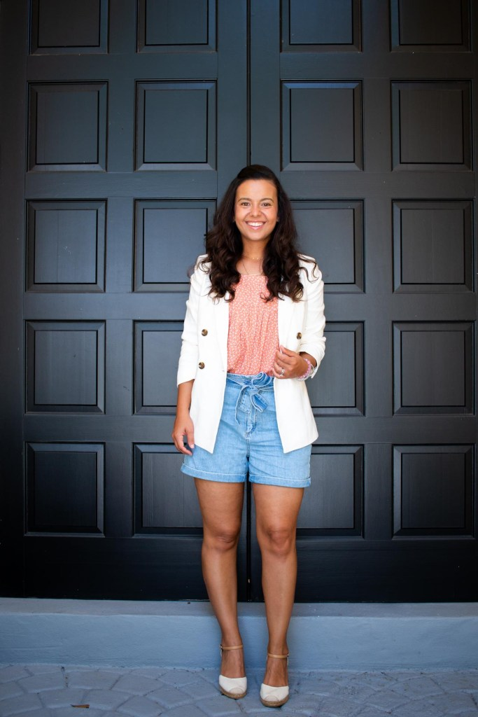 how to style a white blazer with shorts for the summer