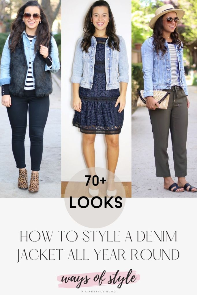 3 outfits with a jean jacket for every season