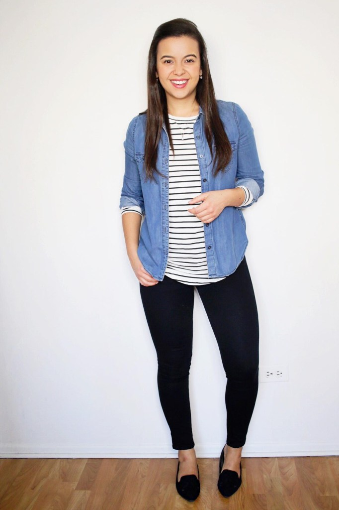 how to wear a denim shirt with stripes