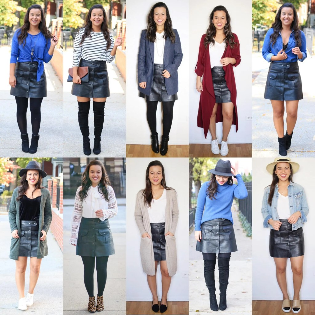10 Stylish leather skirt outfit ideas for Fall and Winter